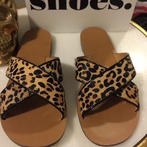 J.Crew sandals Leopard print calf-hair sz. 5